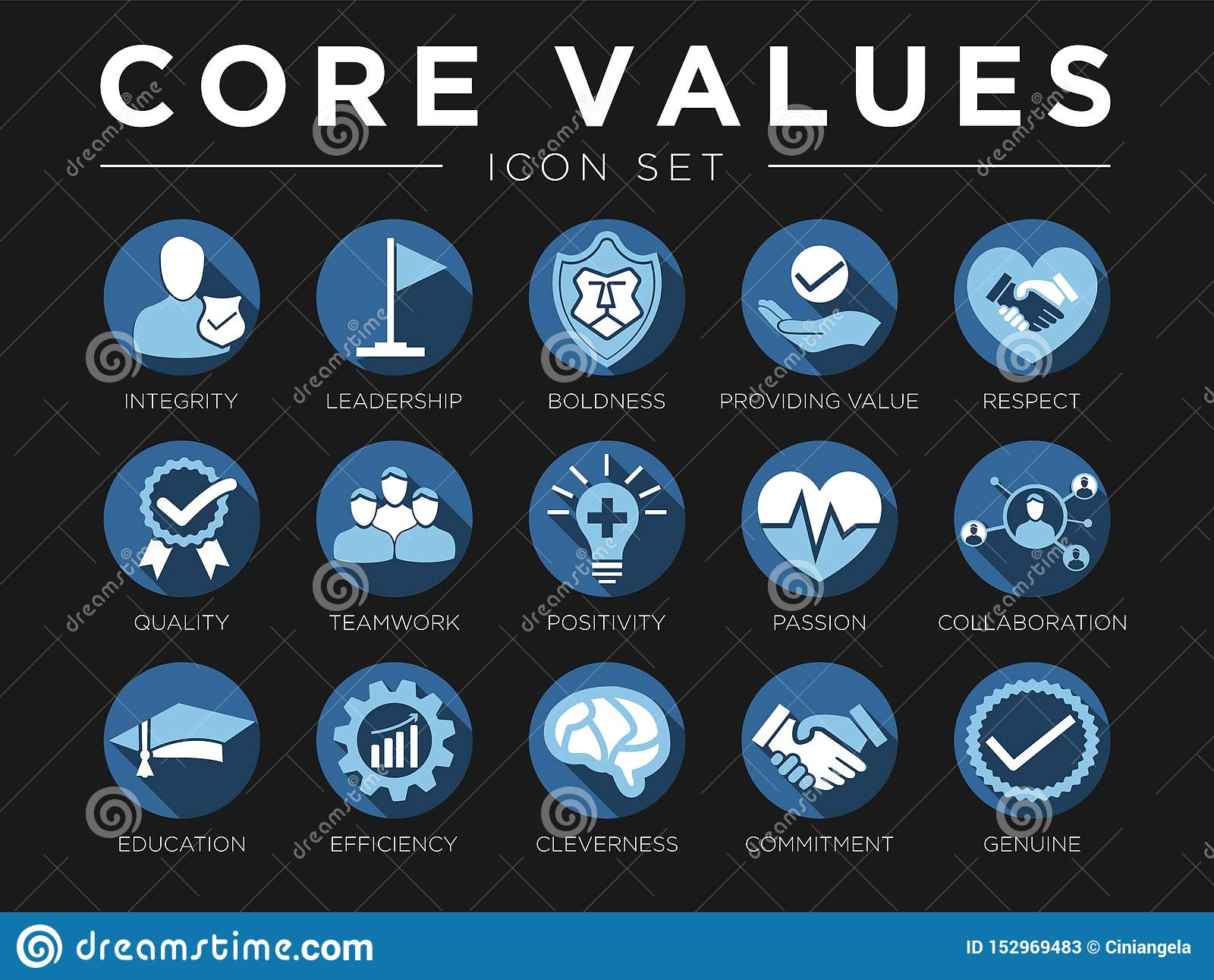 Business Company Values Icon Set. Integrity, Leadership, Boldness, Value, Respect, Quality, Teamwork, Positivity, Passion,