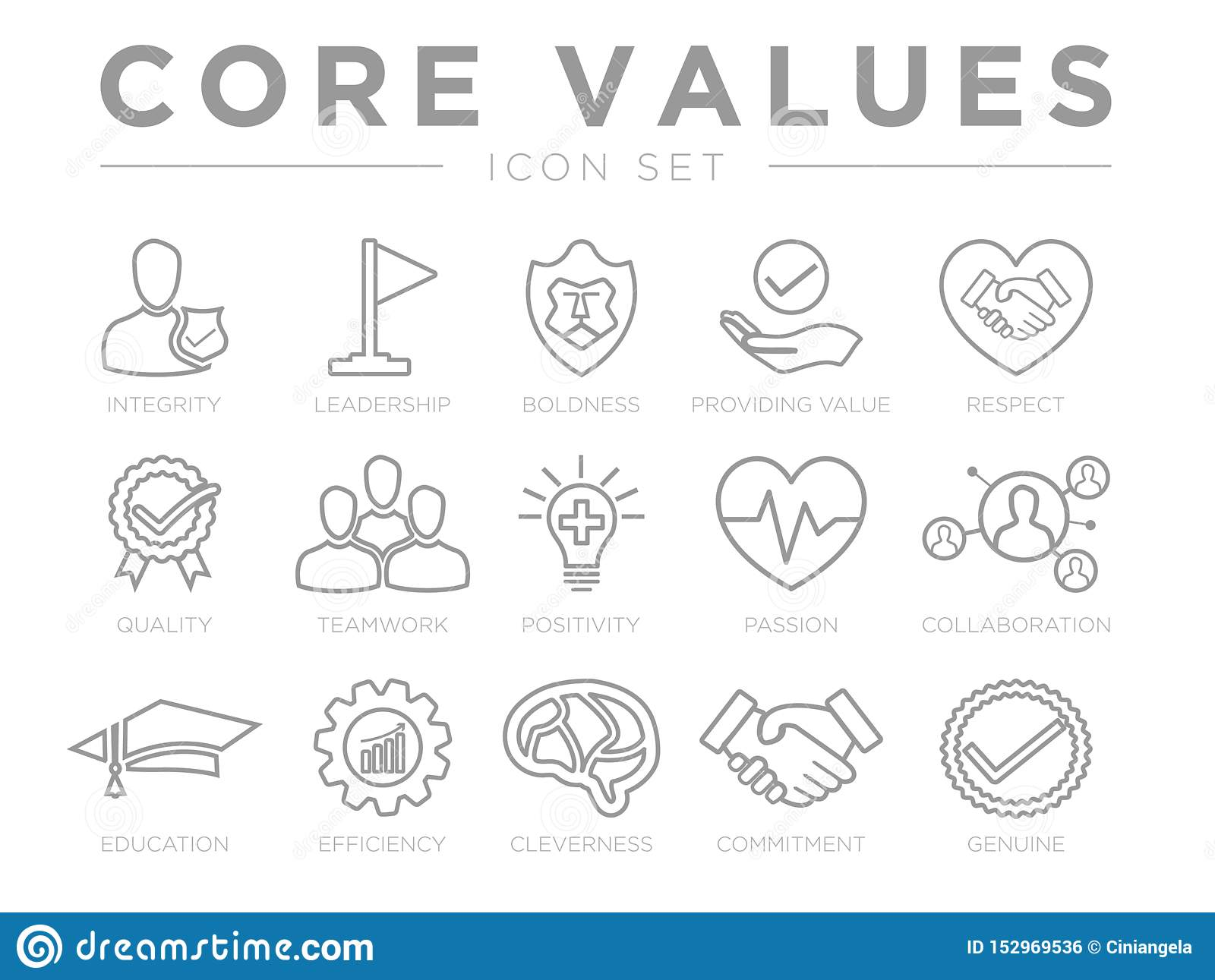Business Company Values Outline Icon Set. Integrity, Leadership, Boldness, Value, Respect, Quality, Teamwork, Positivity, Passion