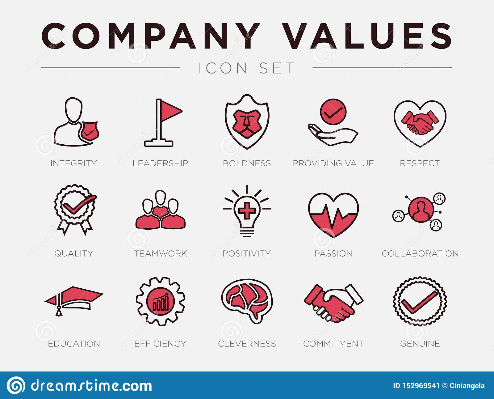 Business Company Values Retro Icon Set. Integrity, Leadership, Boldness, Value, Respect, Quality, Teamwork, Positivity, Passion,
