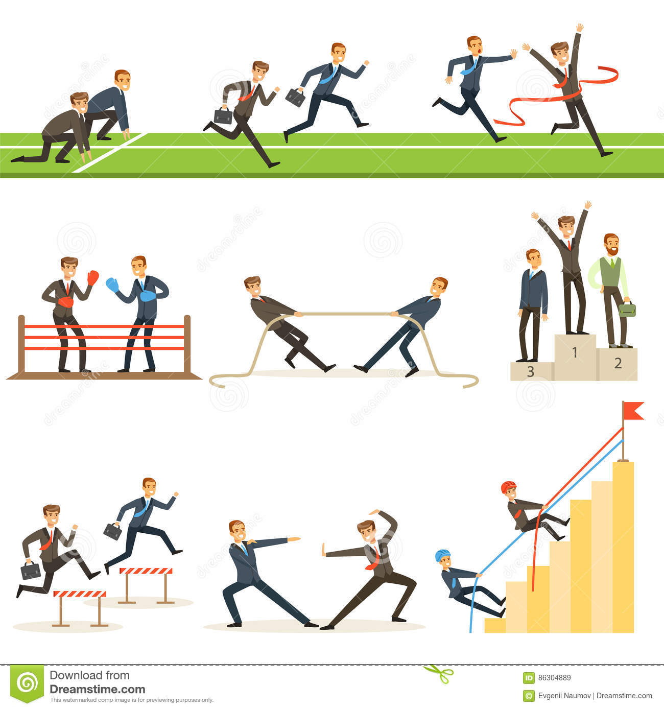 Cartoon Character Design Competition : Business competition set of illustrations with businessman