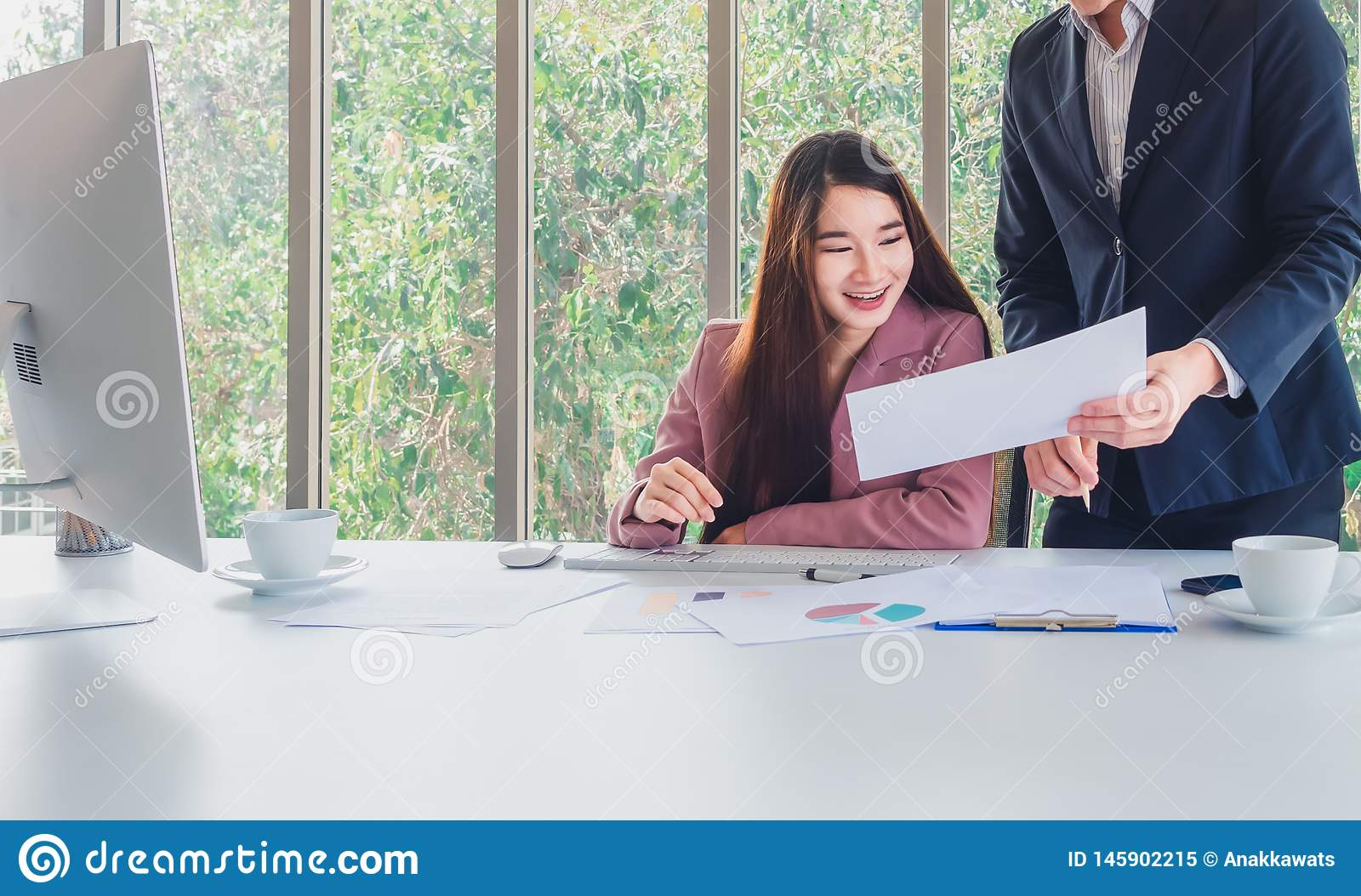 Beautiful business woman receive special offers of interest
