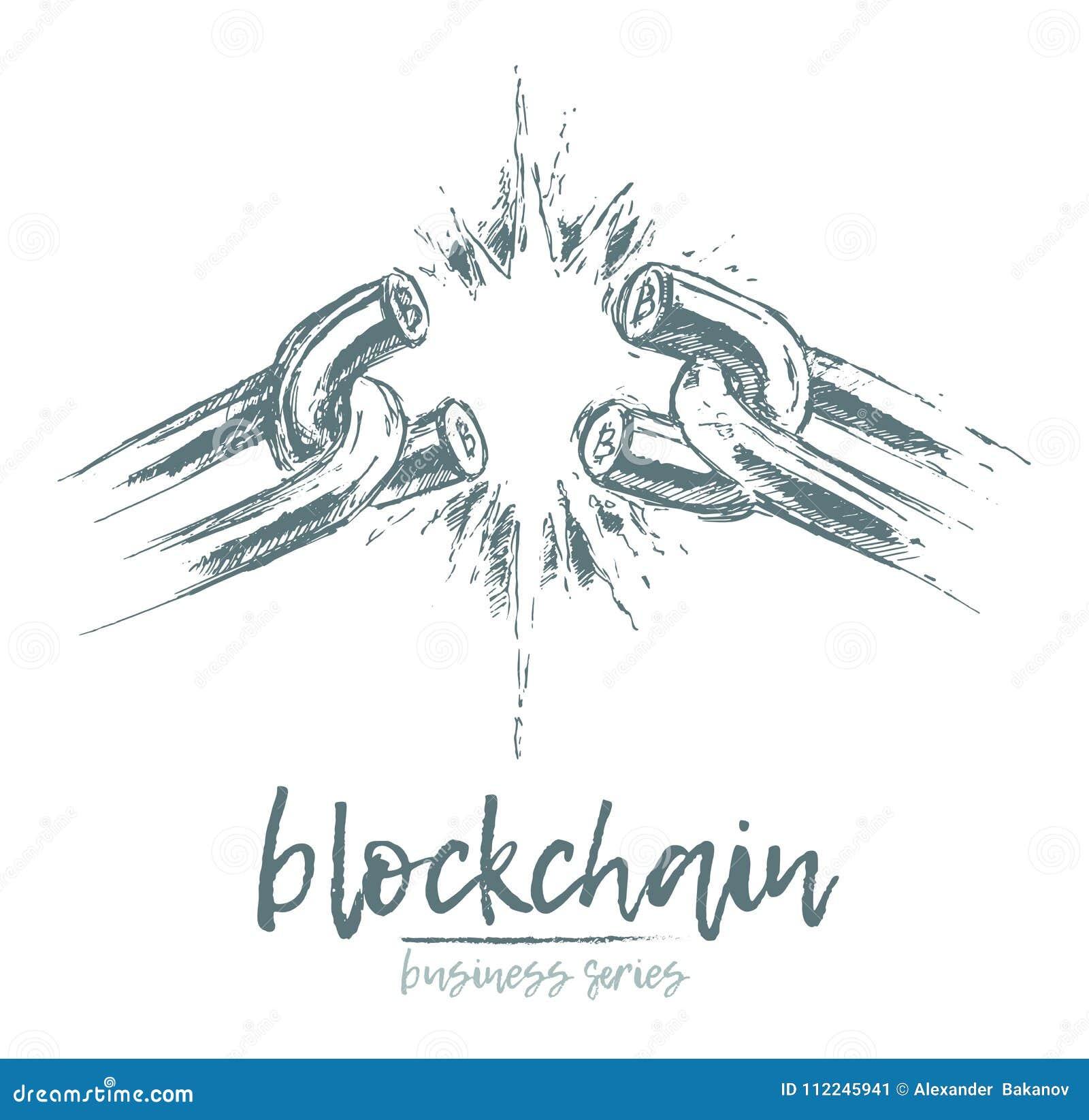 Download Business Concept Broken Chain Blockchain Vector Stock