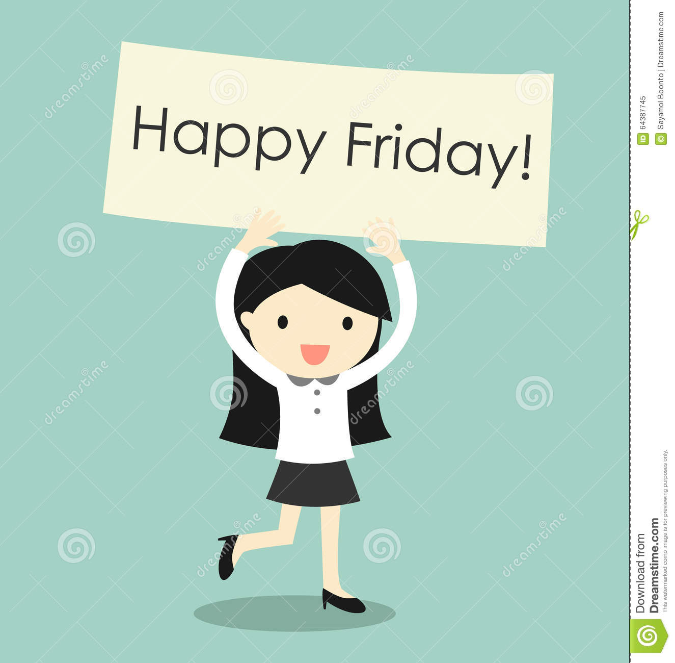 Business concept, business woman feeling happy and holding  Happy Friday  banner. Vector illustration.