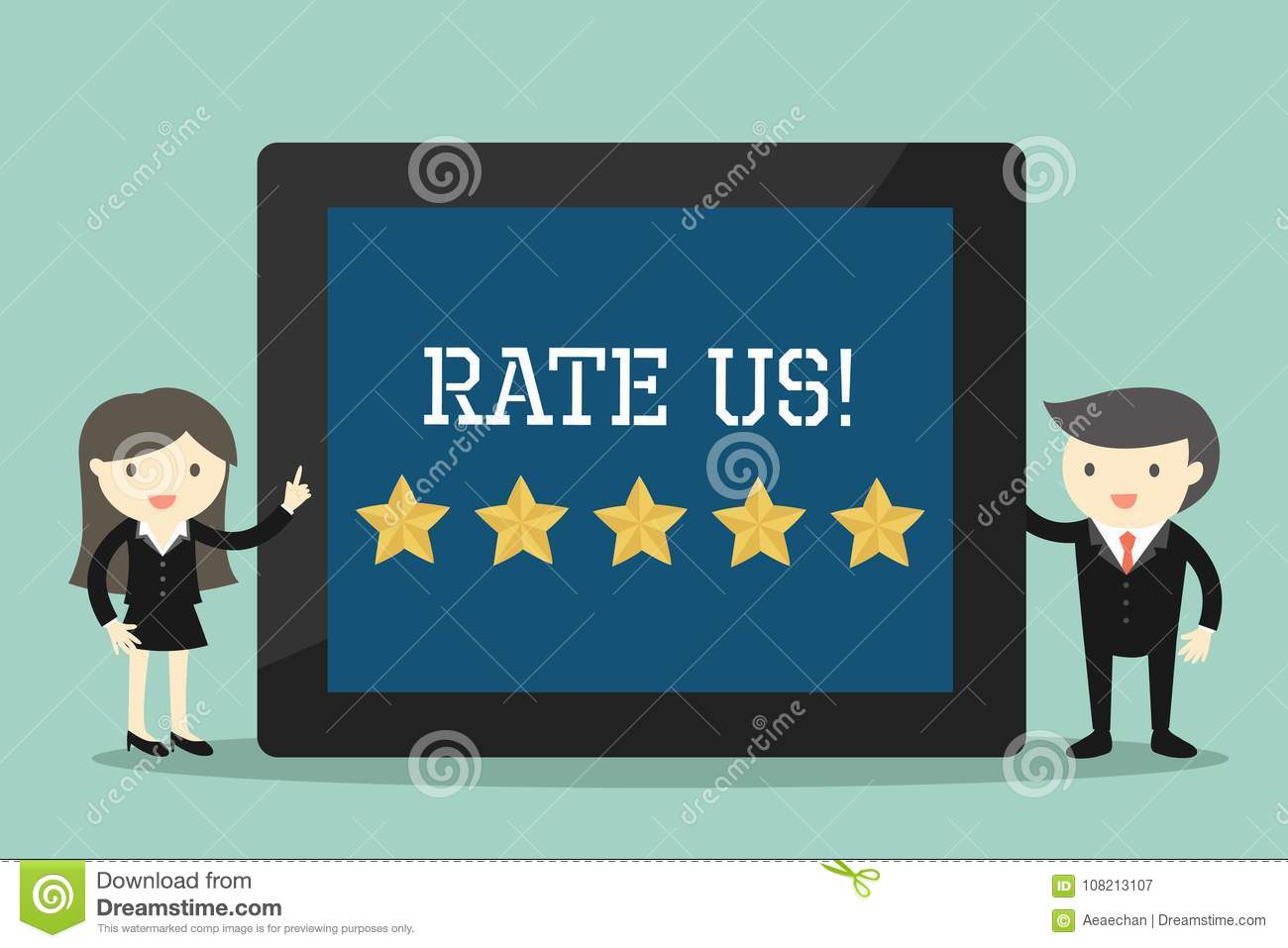 Business concept, Businessman and business woman with `Rate us` concept.
