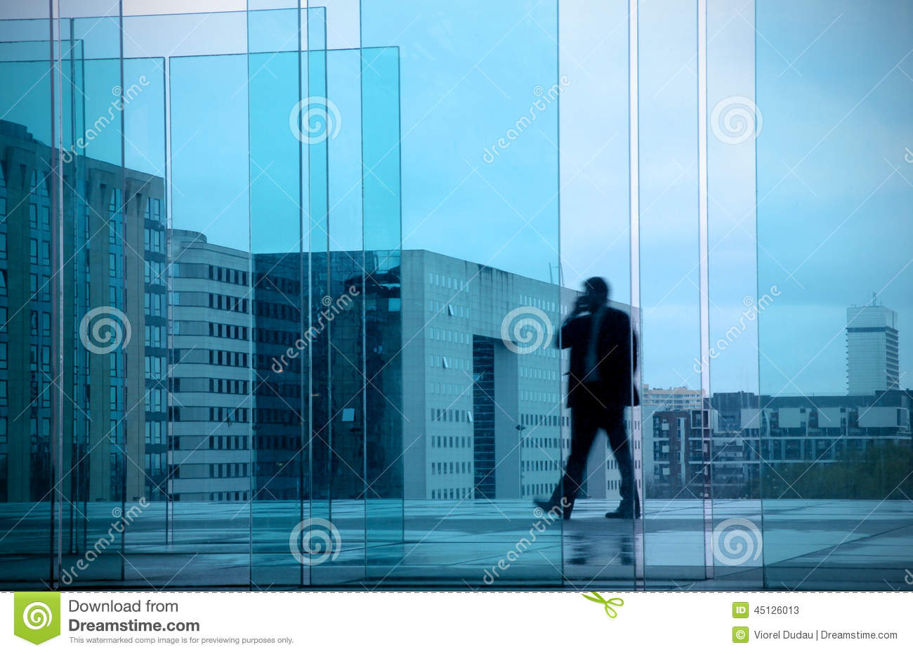 Business concept with businessman in office building