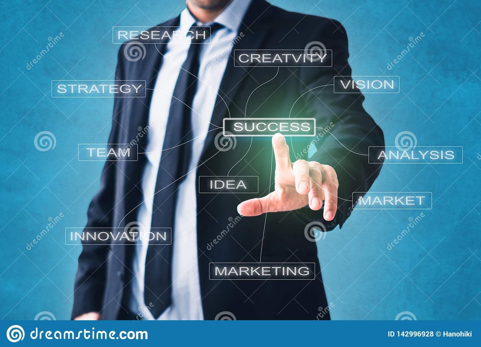 Business  concept - businessman pointing on success strategy components