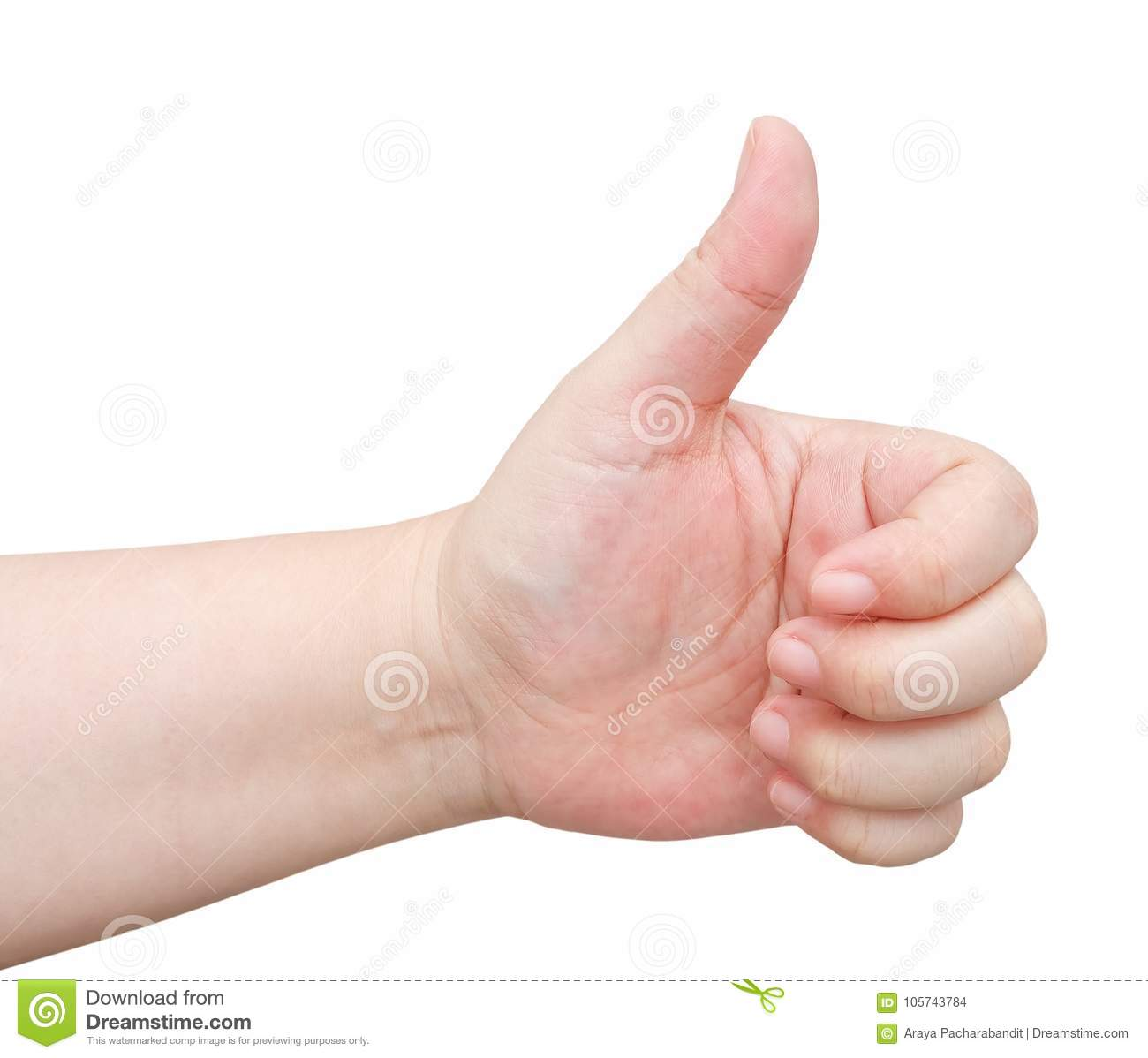 Download Hand Thump Up Sign On White Background Stock Photo - Image of first, hand: 105743784