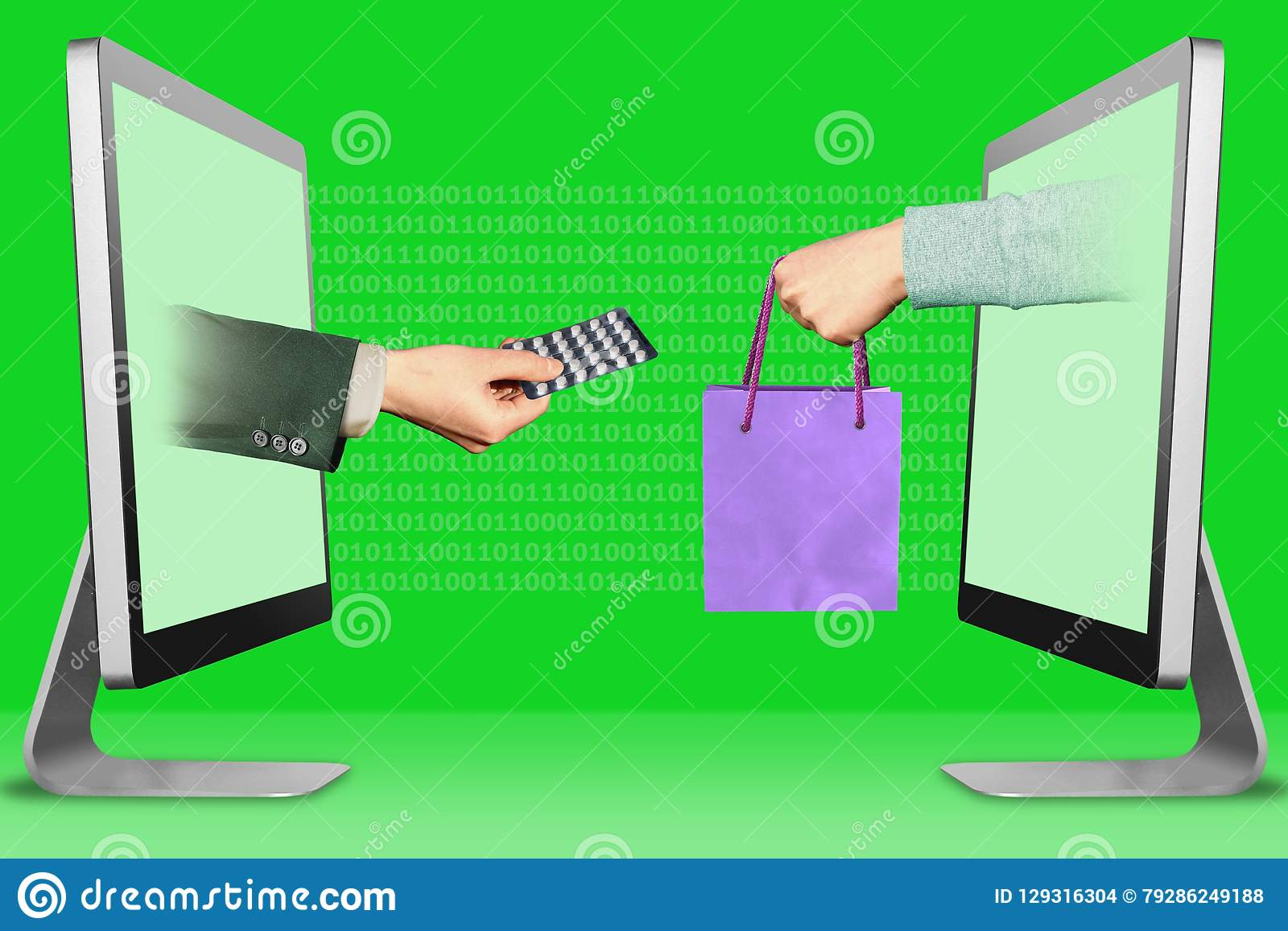 Commerce concept, two hands from computers. hand with medicine pills and hand with shopping bag. 3d illustration