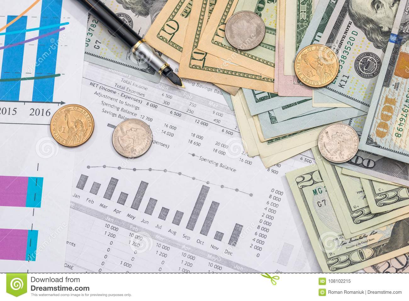 home budget with calculator money pen and calculator stock image