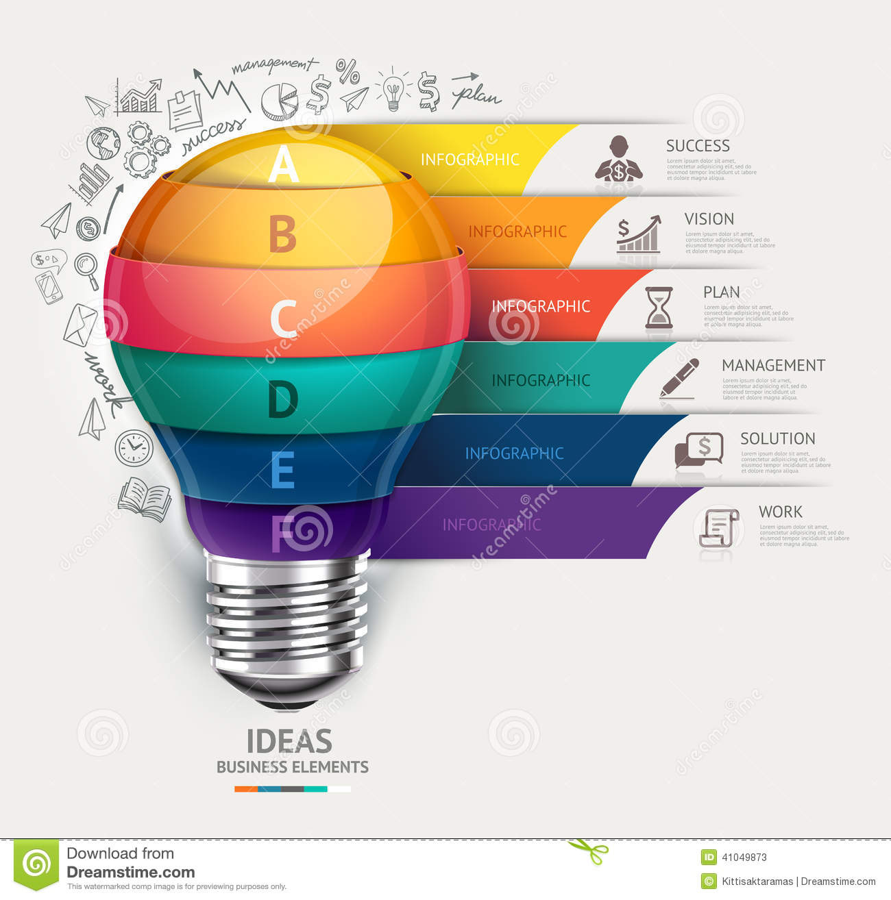 Business concept infographic template lightbulb s stock vector business concept infographic template lightbulb and doodles ico stock photo cheaphphosting Images