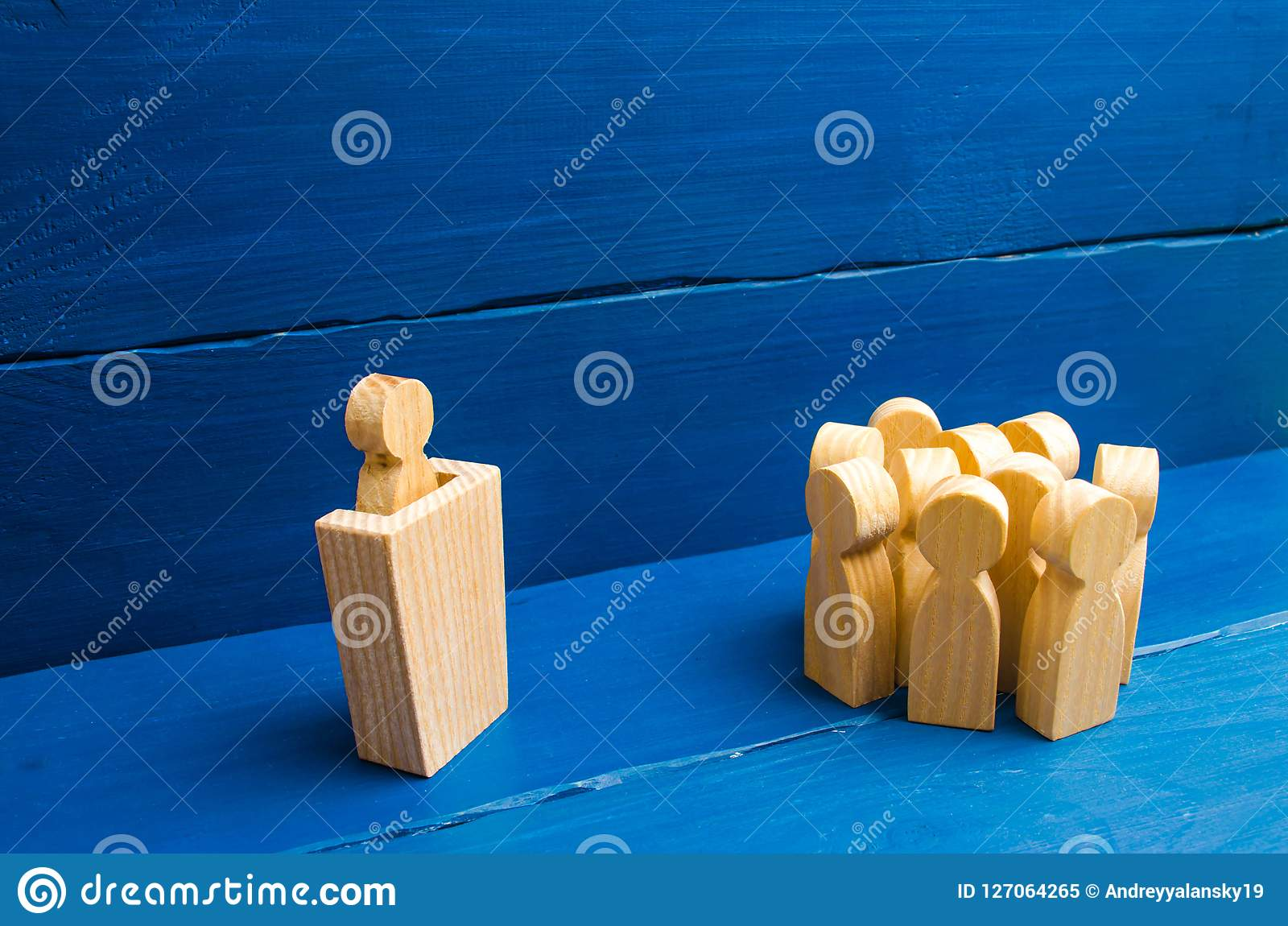 Business concept of leader and leadership qualities, crowd management, political debate and elections. Business management.