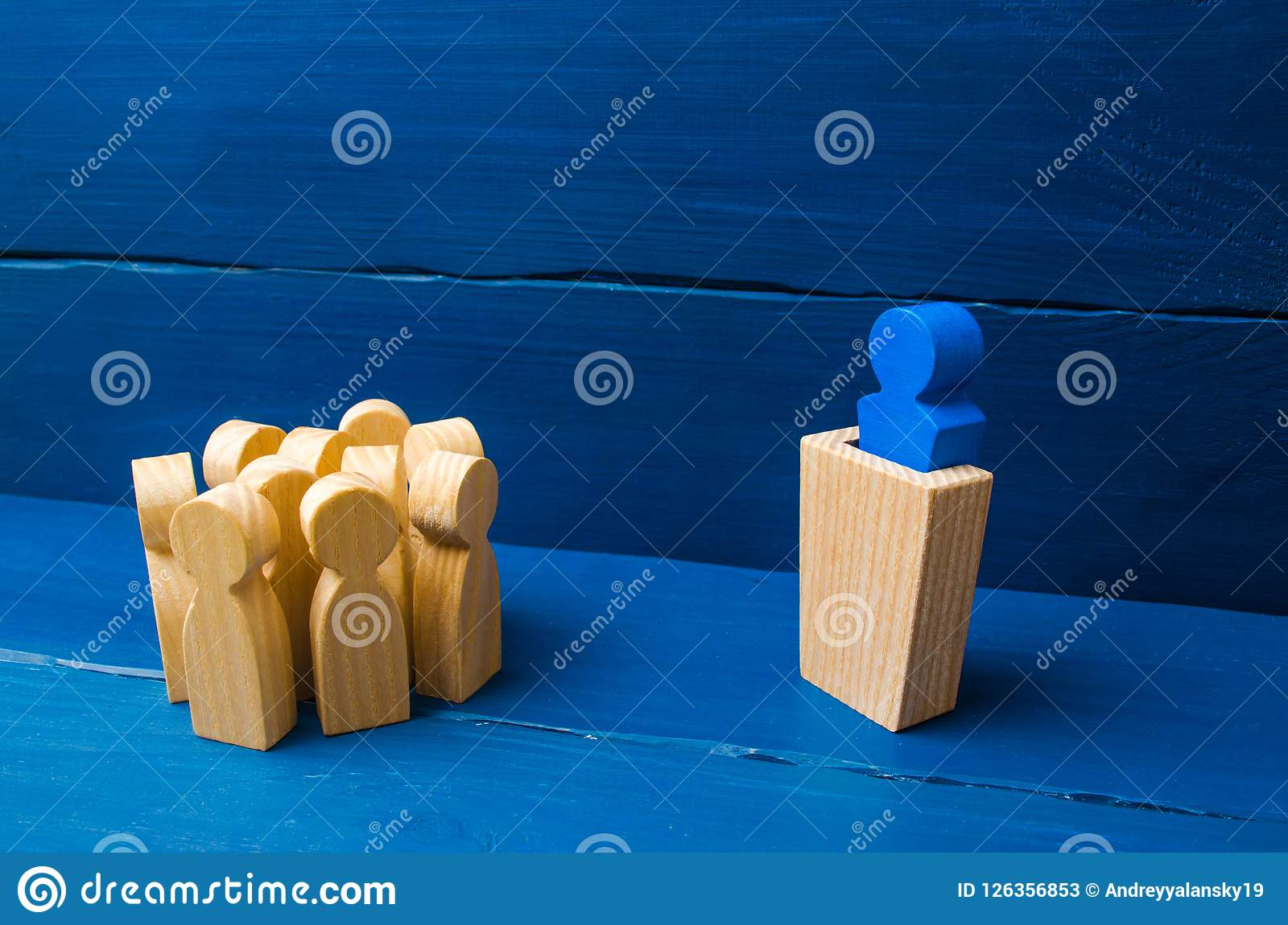 Business concept of leader and leadership qualities, crowd management, political debate and elections. Business management. The le