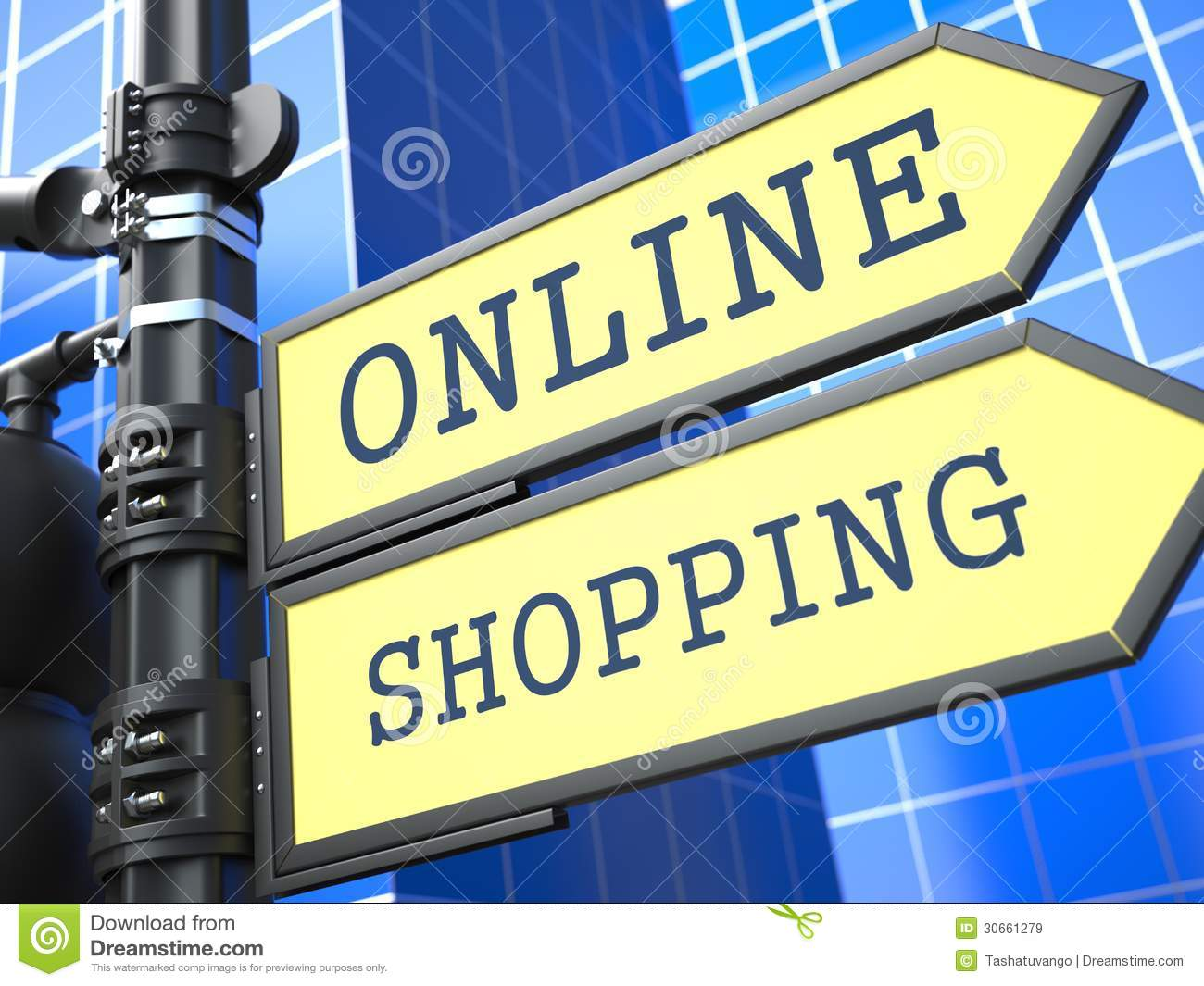 Business concept online shopping sign royalty free stock for Online websites for shopping