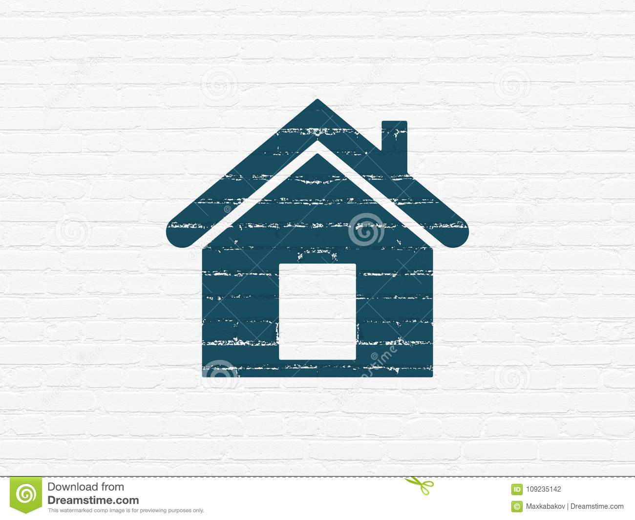 Business Concept: Home On Wall Background Stock Illustration ...