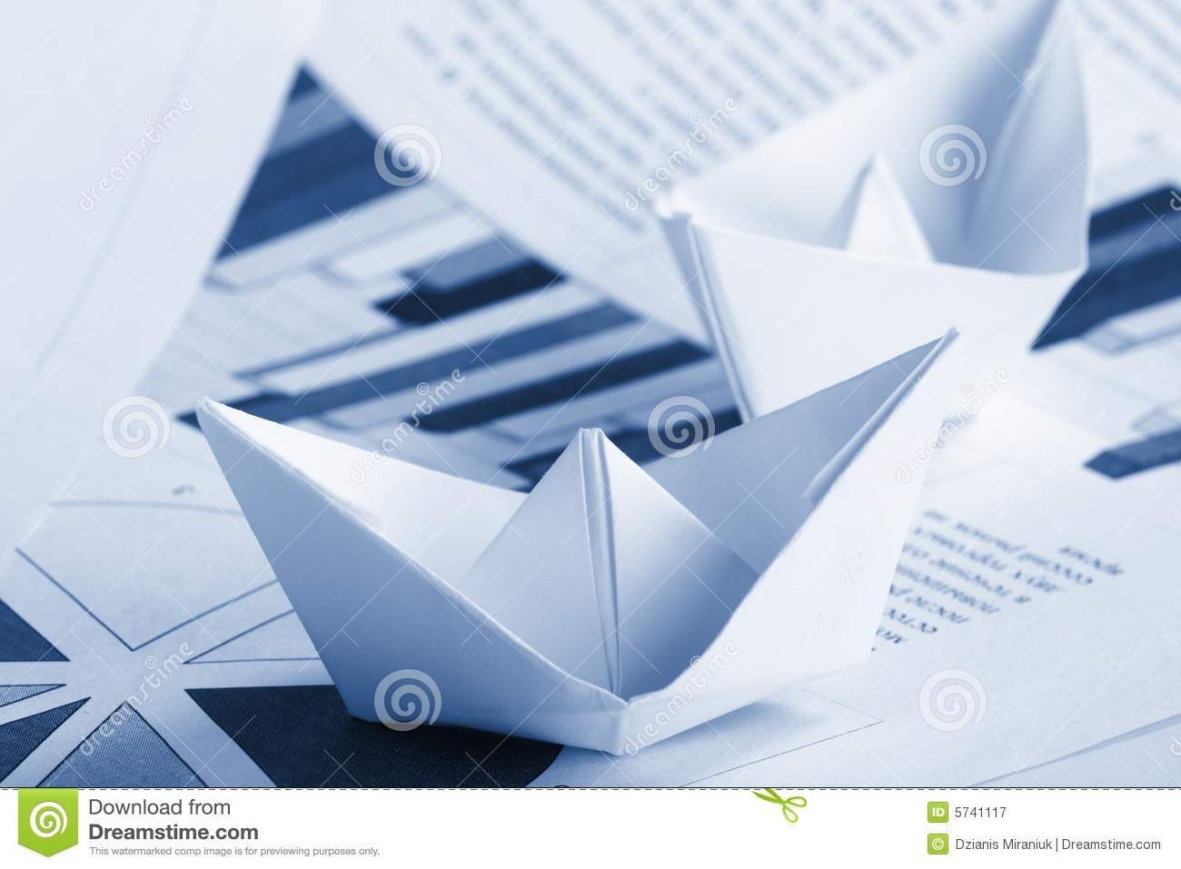 Business Concept  Paper Boat And Documents Stock Image