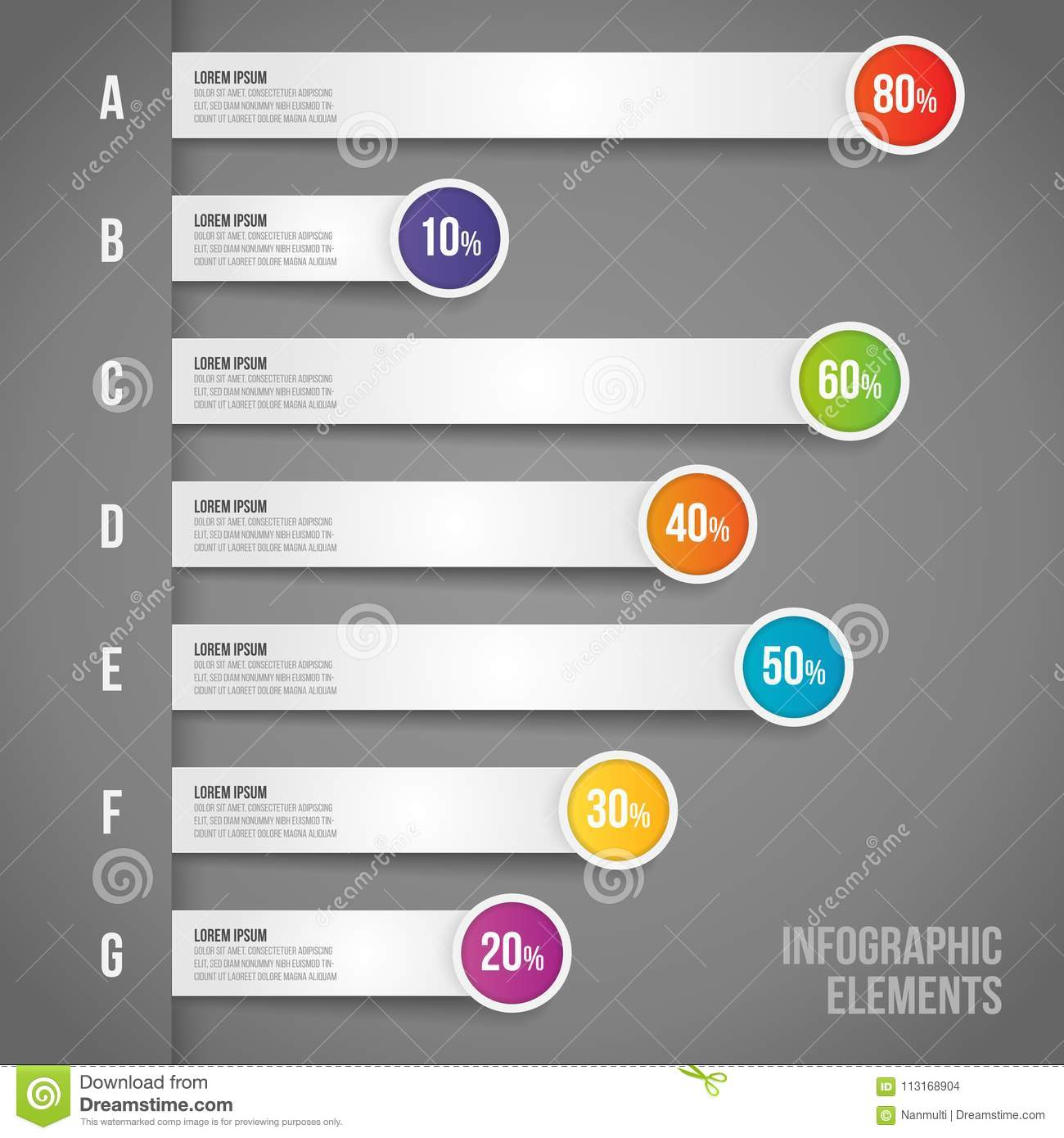 Business concept with percentage in Vector infographics workflow, bar graph, diagram for annual report, web design. business and m