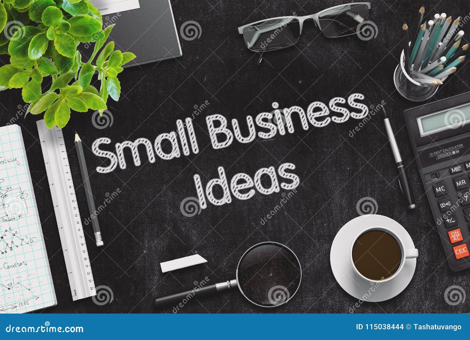 small business ideas on black chalkboard. 3d rendering. stock photo