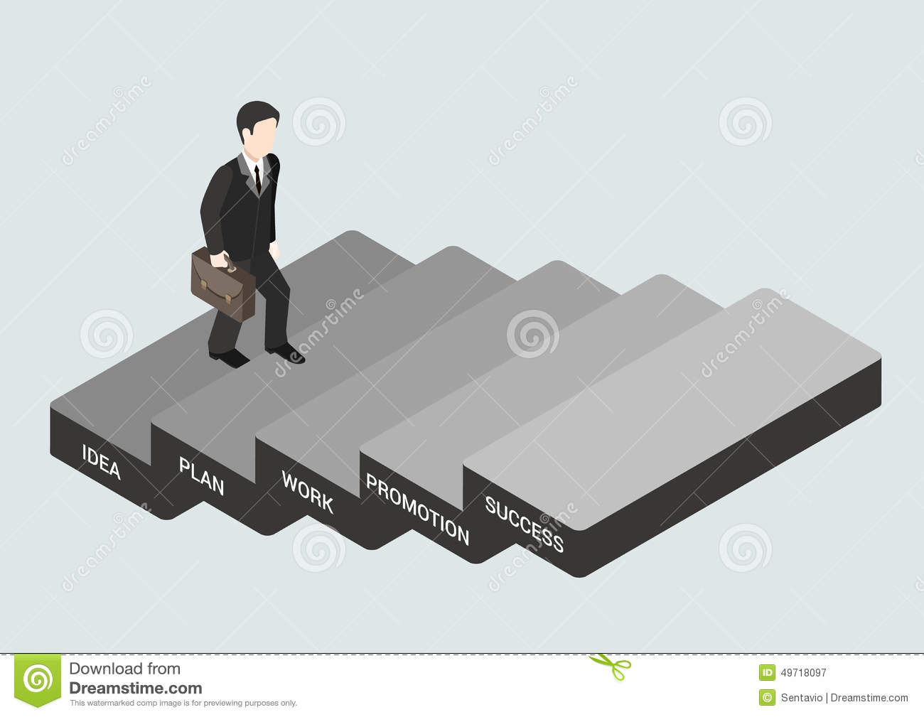 Business concept step succeed flat 3d web isometric infographic