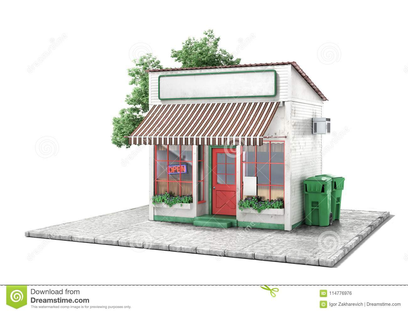 Business concept. Store with empty signboard isolated on a white.