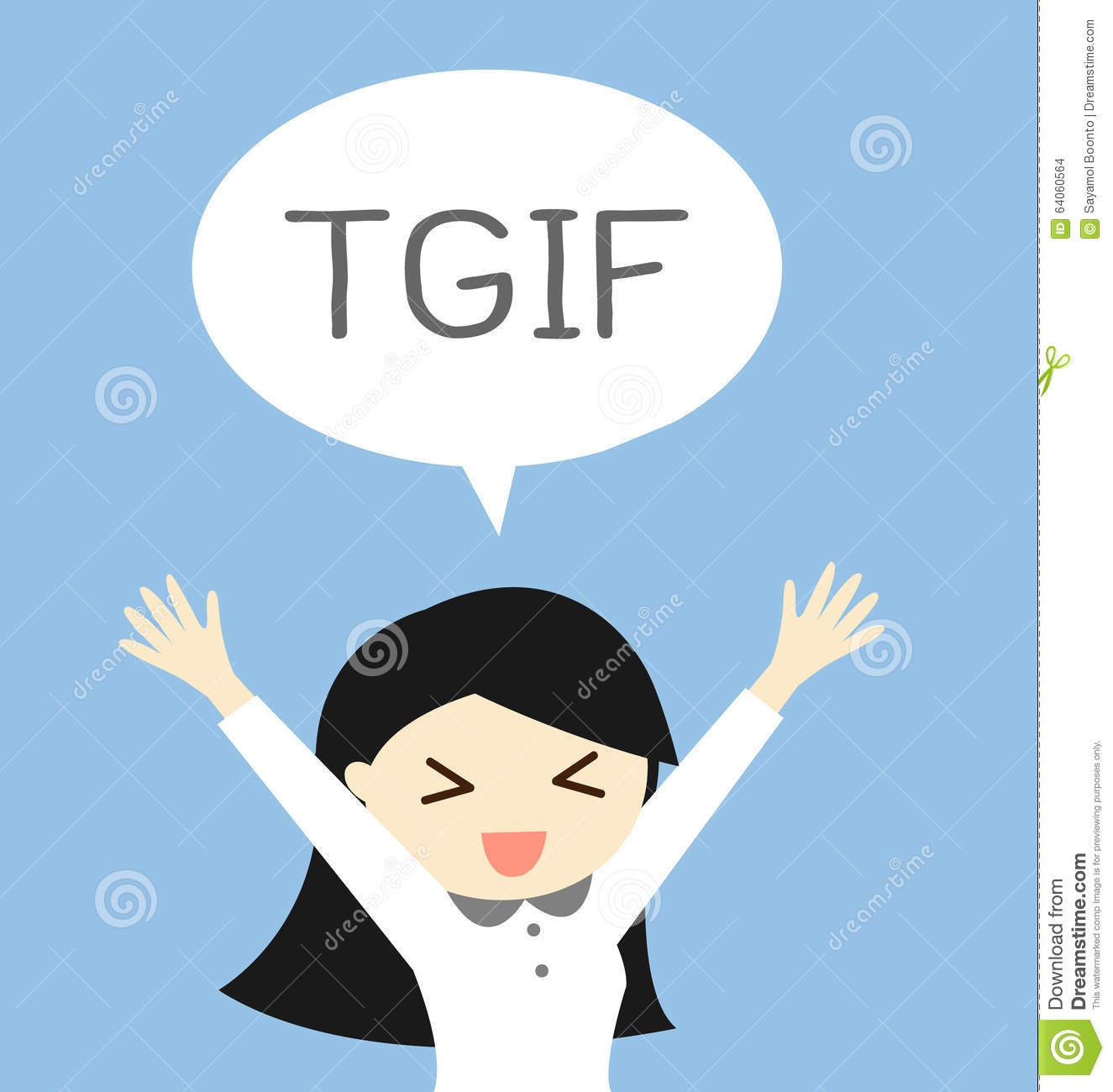 Business Concept Thank God It S Friday Or Tgif With A Woman In Feeling Happy And Relax Vector Illustration Stock Vector Illustration Of Character Flat 64060564