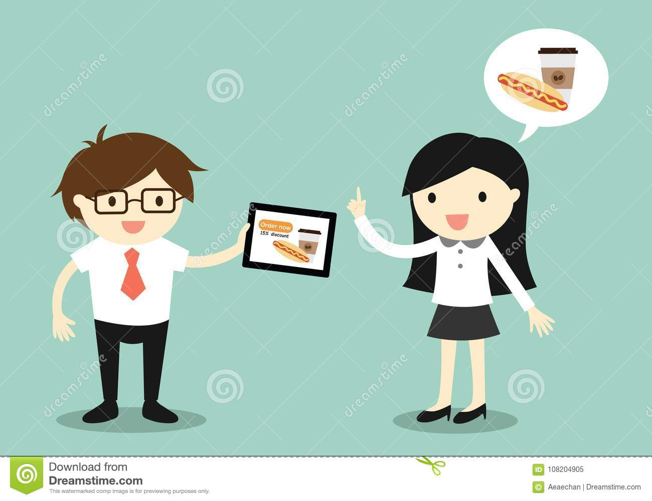 Business concept, Business woman and businessman going to order food online.