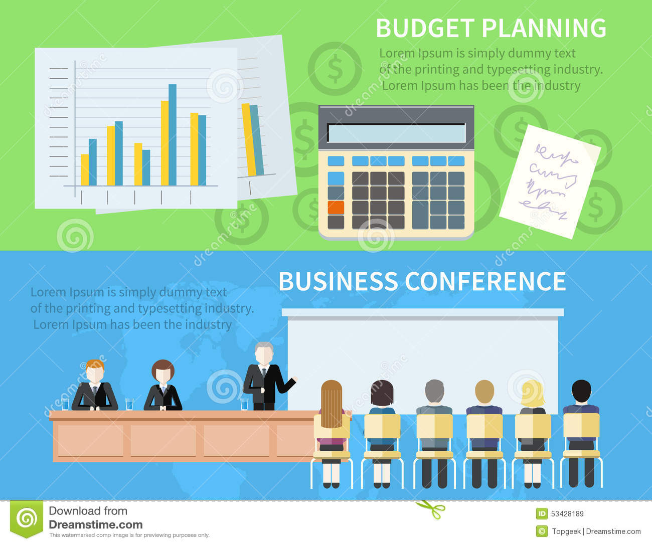 business conference and budget planning stock vector illustration