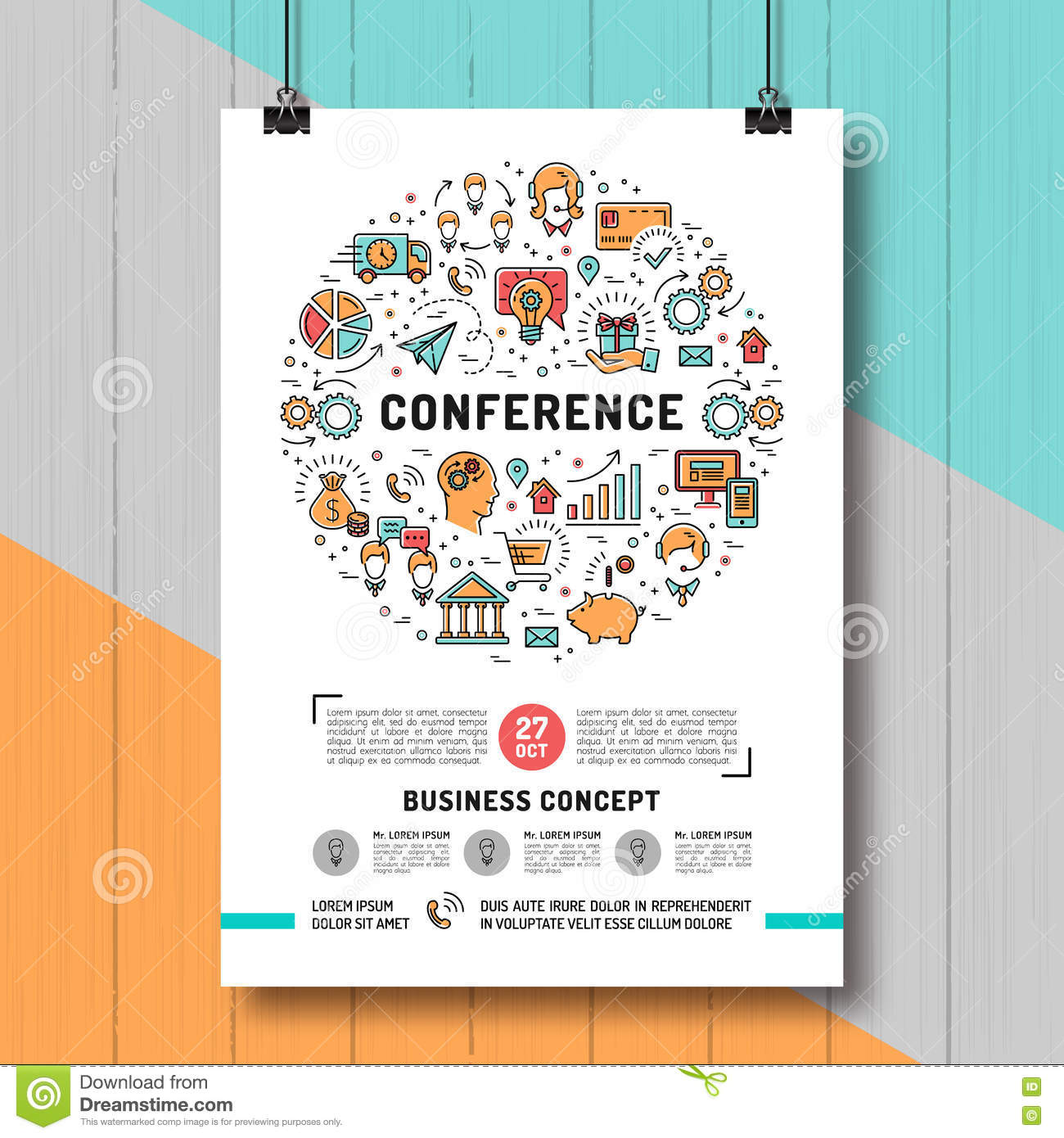 Line Art Poster Design : Business conference poster templates a size line art