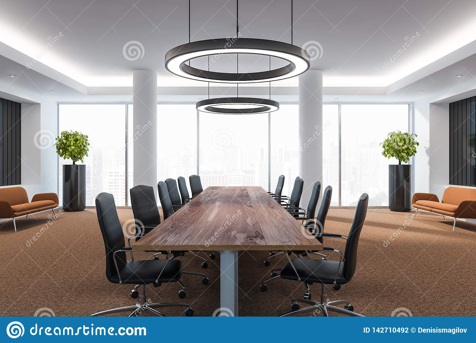Business Conference Room With Furniture, Big Windows And City View 3D  Render Stock Illustration - Illustration of ornate, consult: 142710492