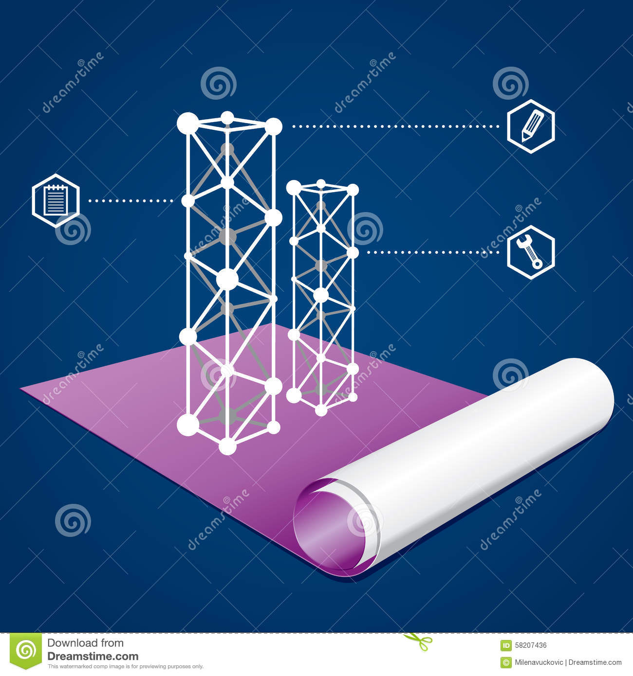 Business and construction graph on a blueprint stock vector royalty free stock photo malvernweather Images