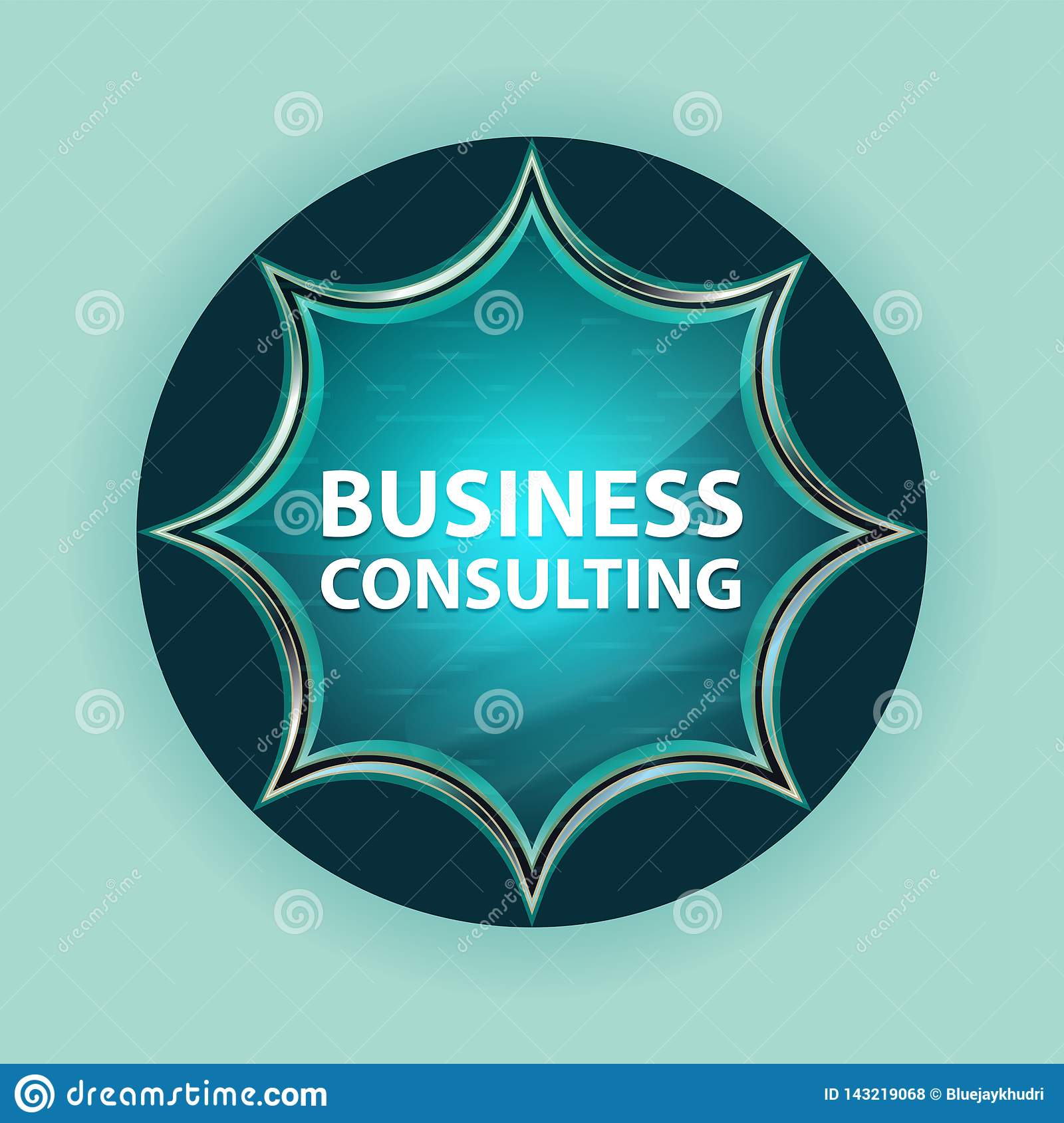 Business Consulting magical glassy sunburst blue button sky blue background