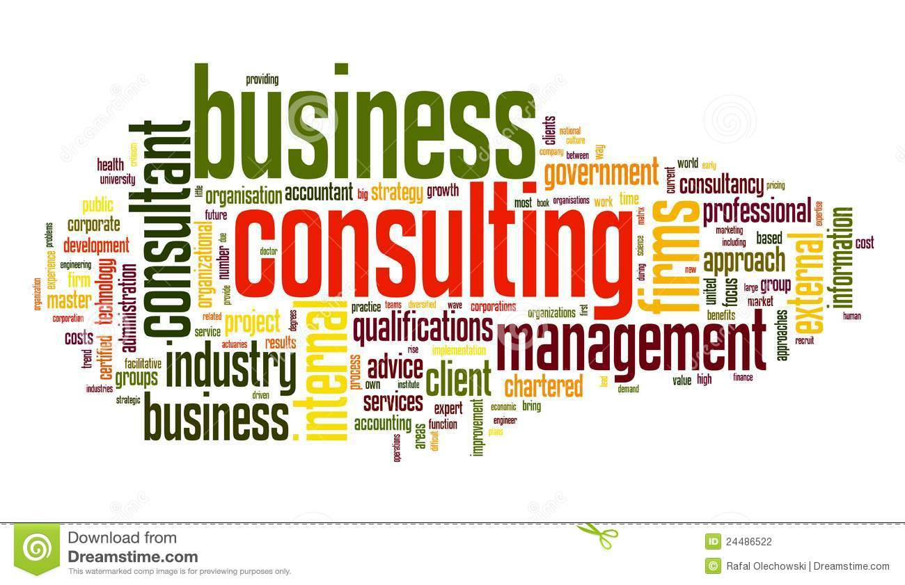 Business consulting in word tag cloud