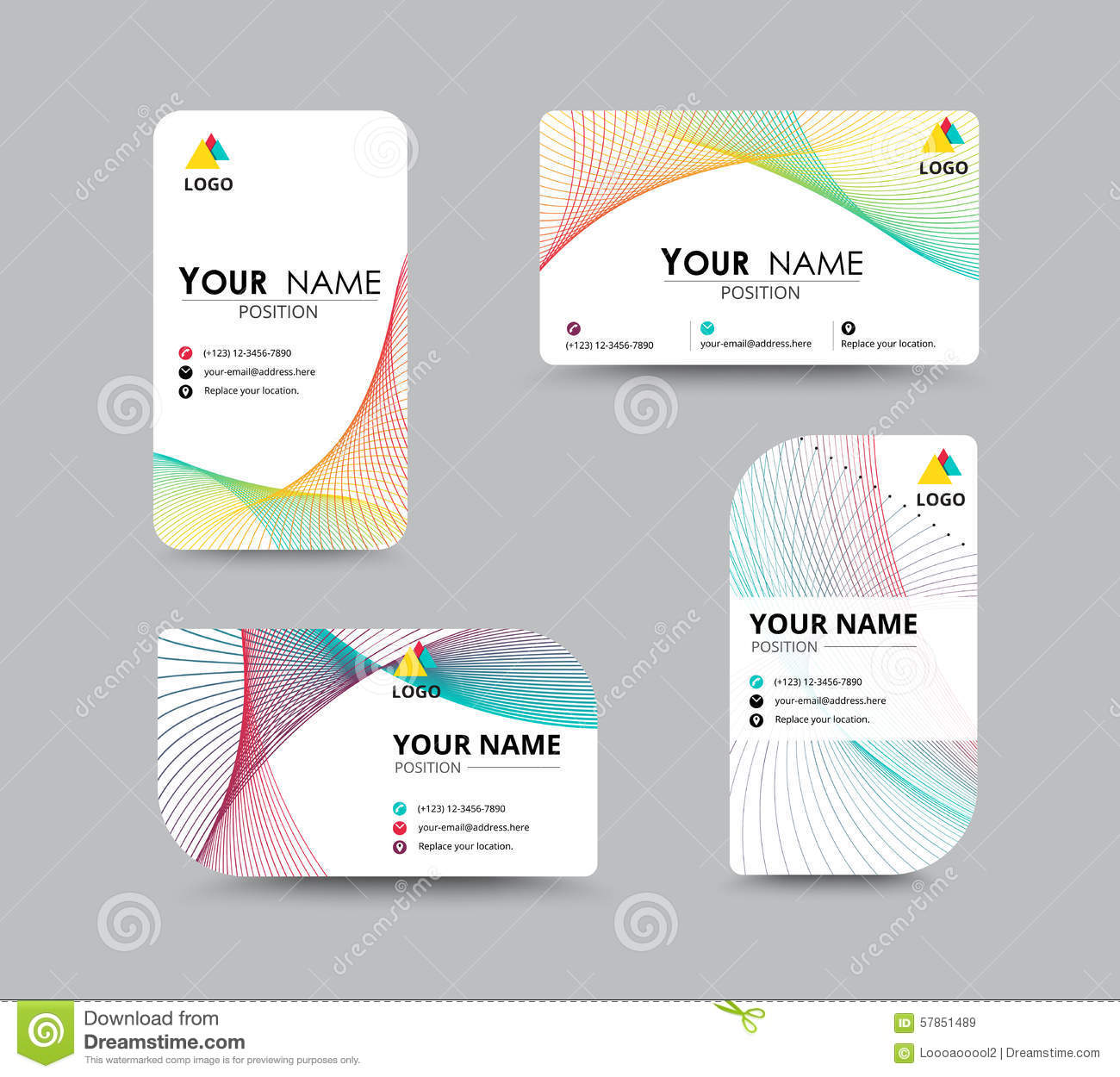 Business Contact Card Template Design. Contrast Color ...