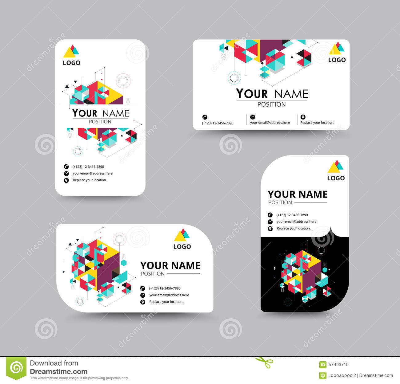 business greeting card template design introduce card include sample text position vector illustration design