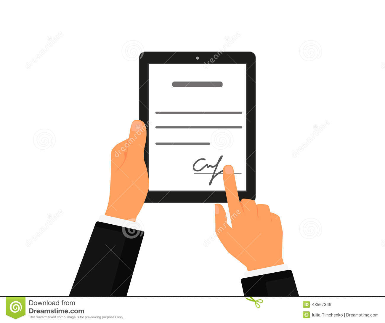 Business Contract With Signature On Tablet Pc Stock Vector