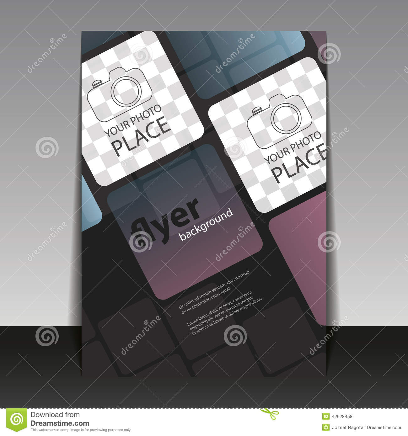 Business Or Corporate Flyer Template With Squares Stock Vector