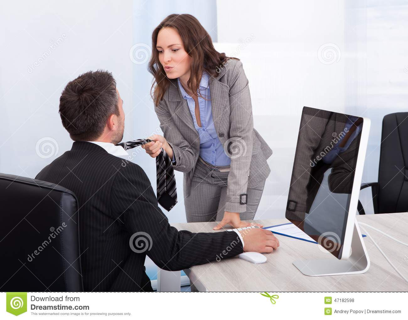 Business Couple Flirting In Office Stock Photo - Image of ...