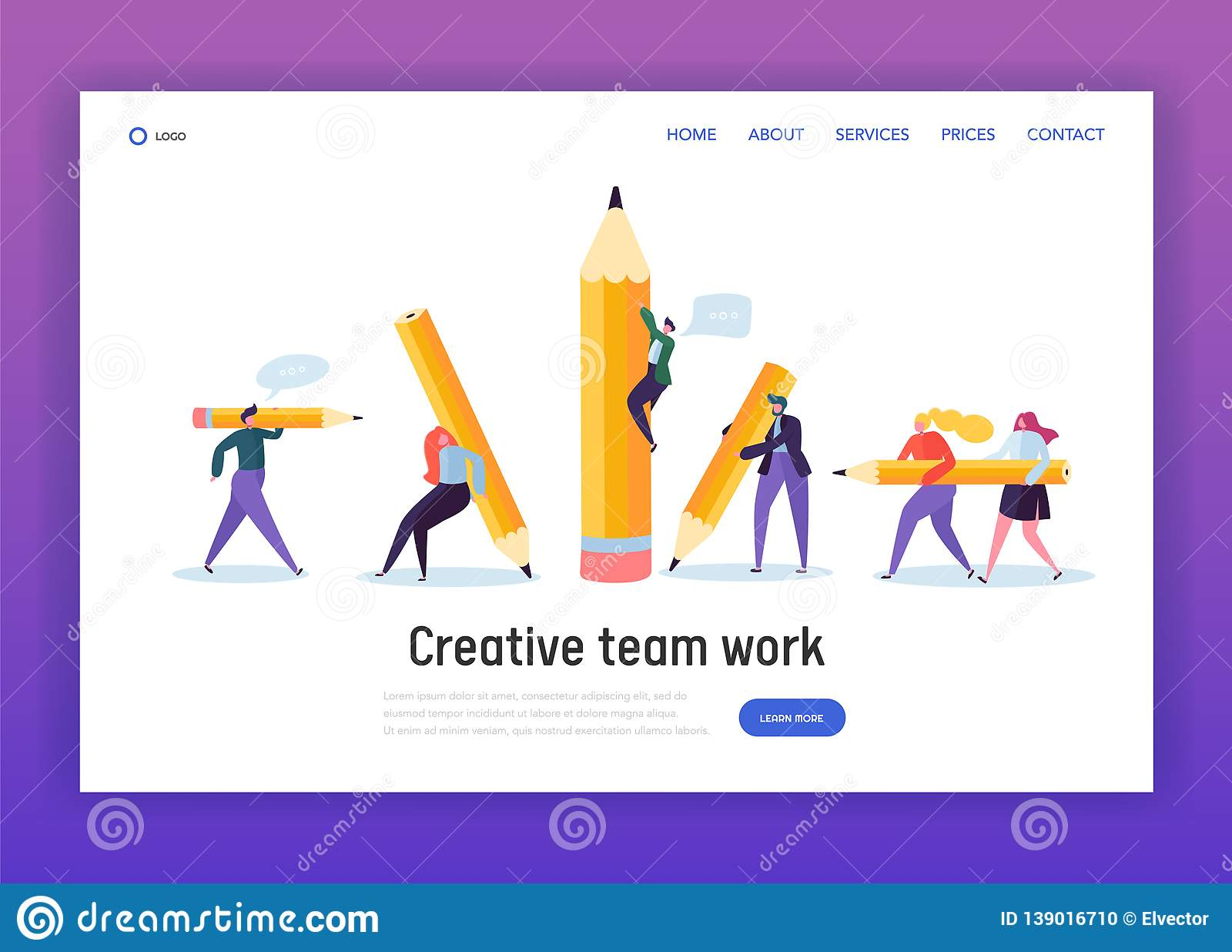Business Creative Copywriter Teamwork Landing Page. Drawn People Holding Pencil. Blogger Work Goal. Education Job Leader