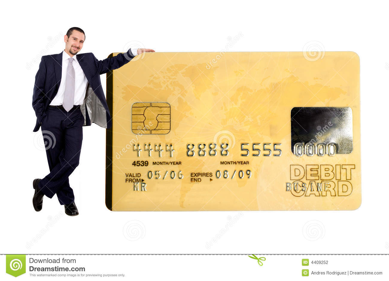 Business man holding a credit card over a white background note the