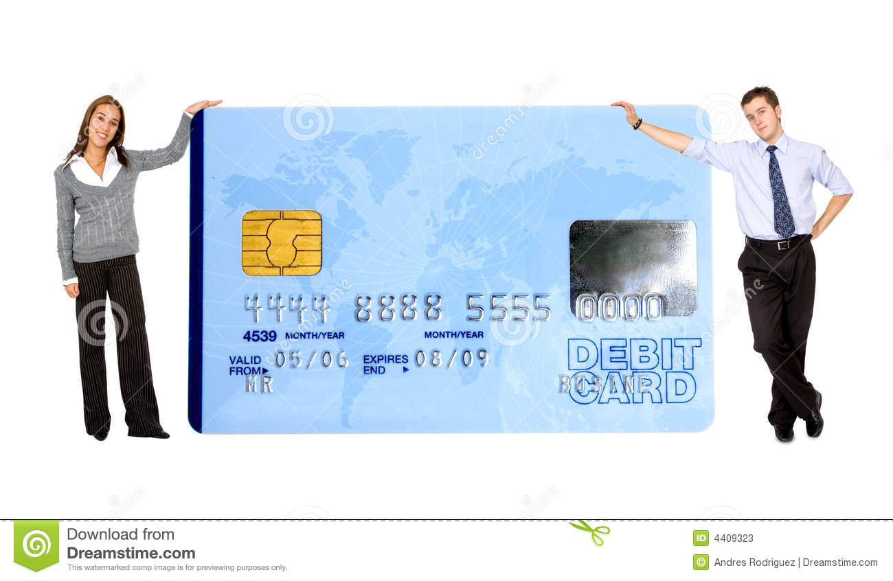 Business mand and woman holding a credit card over a white background