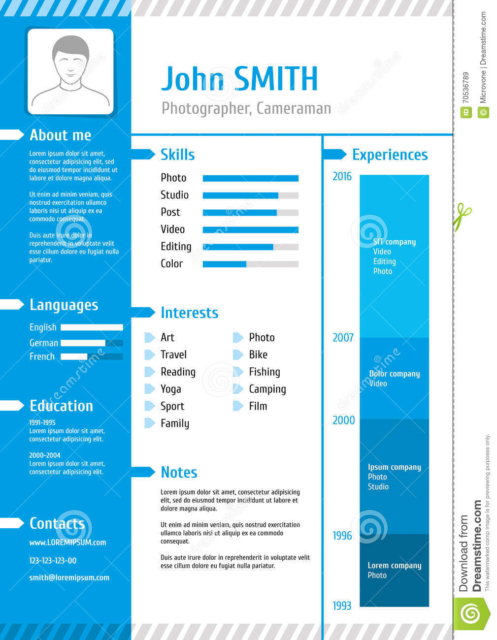 business curriculum vitae and resume vector template