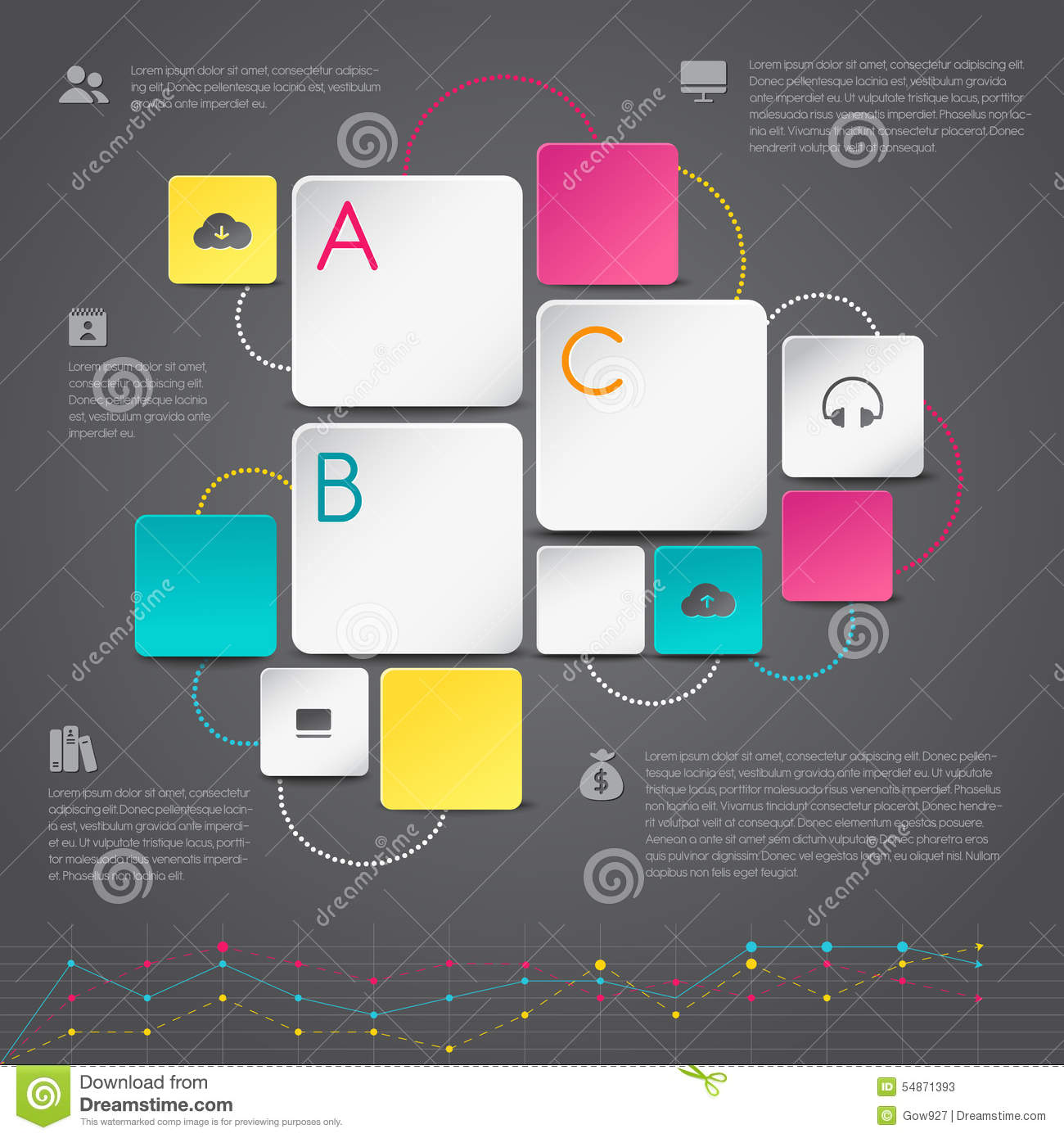 Business 3D Infographic Paper Background Template Layout