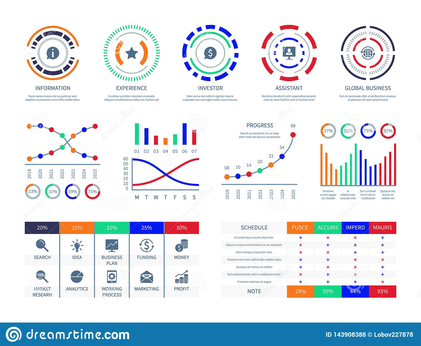 Business data graphs financial marketing charts dashboard infographic hud chart connection analysis illustration