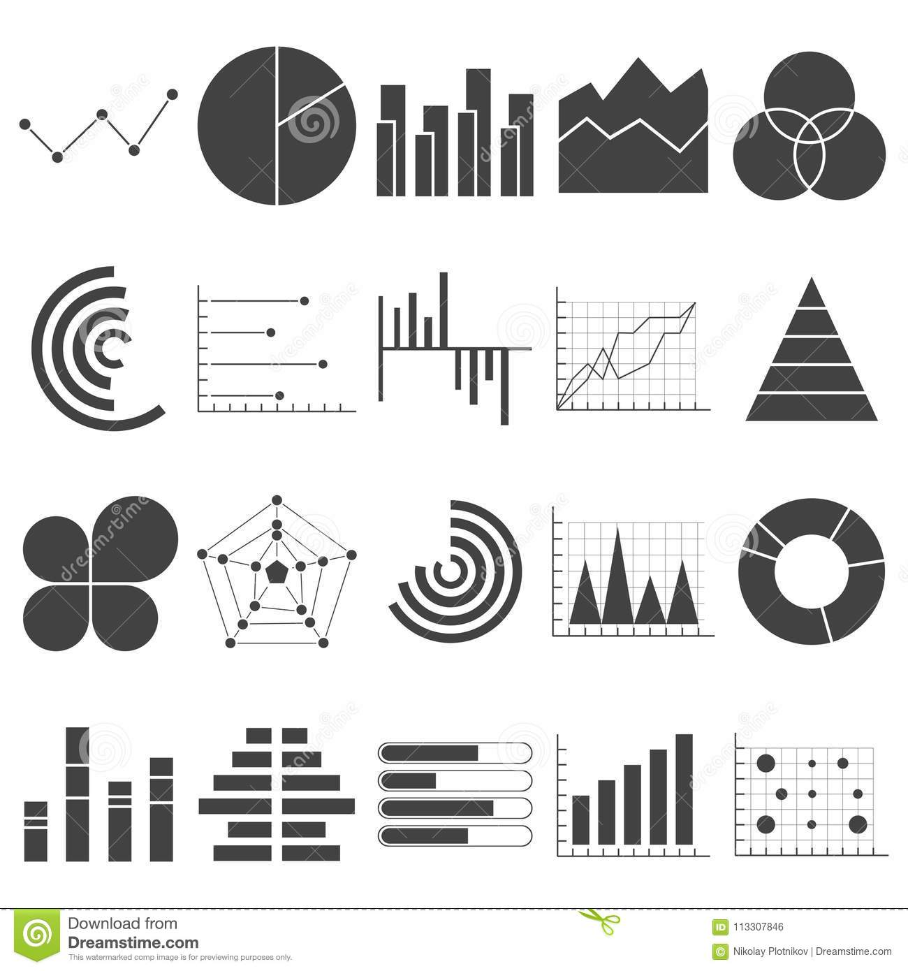 business data graphs icons  financial and marketing charts  market elements dot bar pie charts