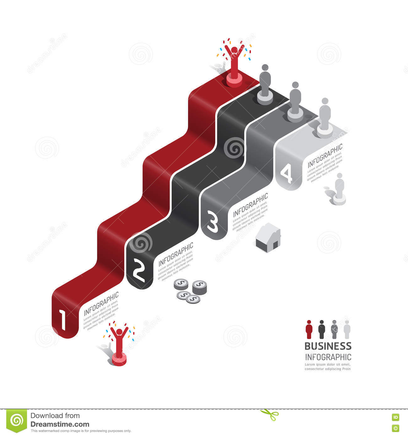 Business data process chart. Abstract elements of graph, diagram with icons. Vector illustration business infographics design