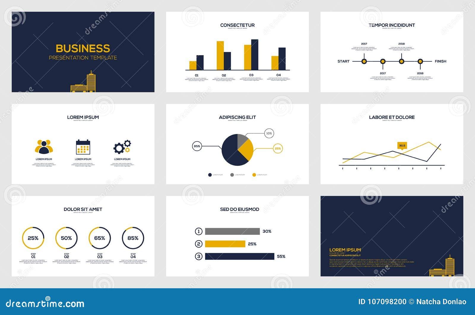 business data visualization modern presentation template stock
