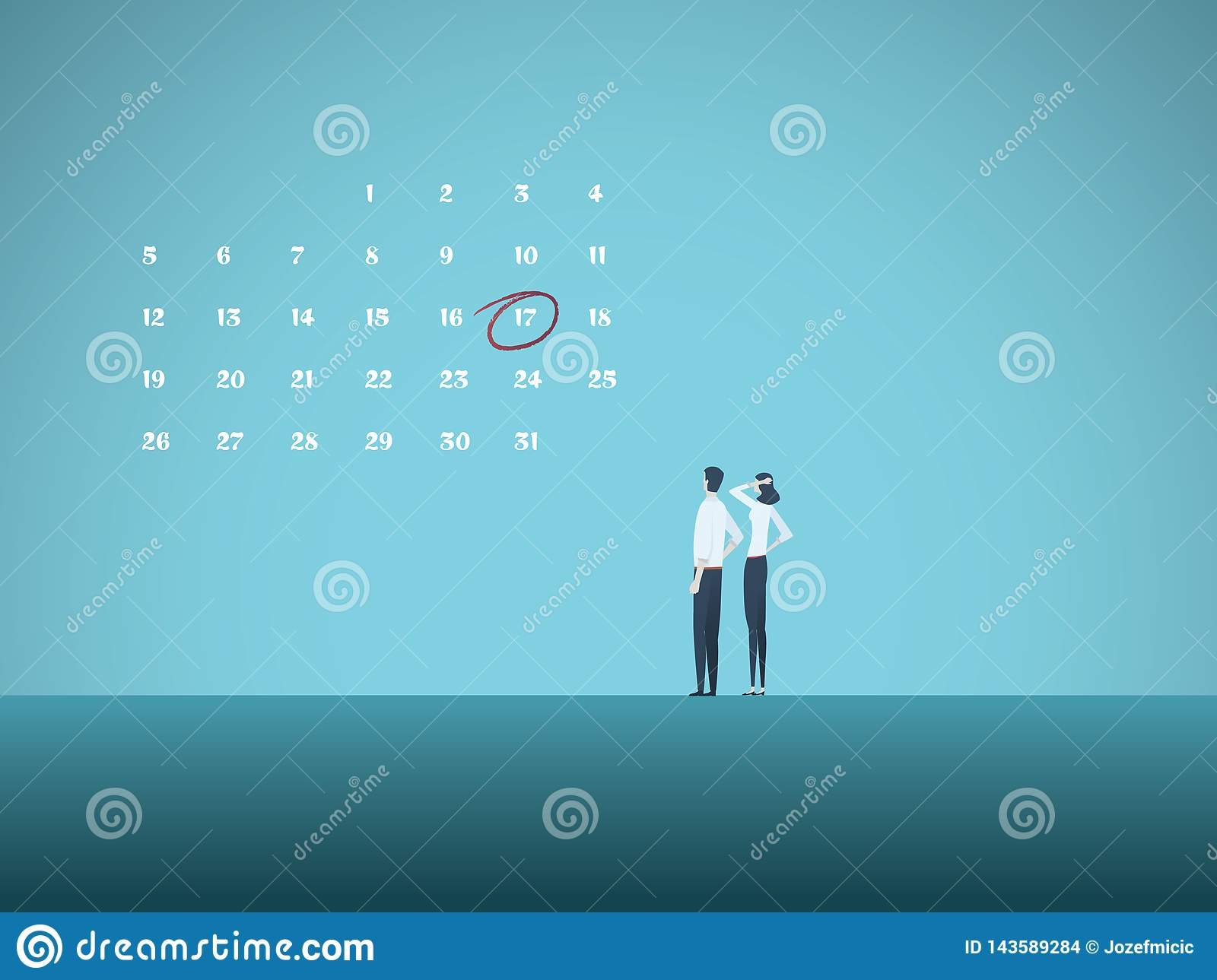 Business deadline vector concept with man and woman looking at calender. Symbol of project management, milestones