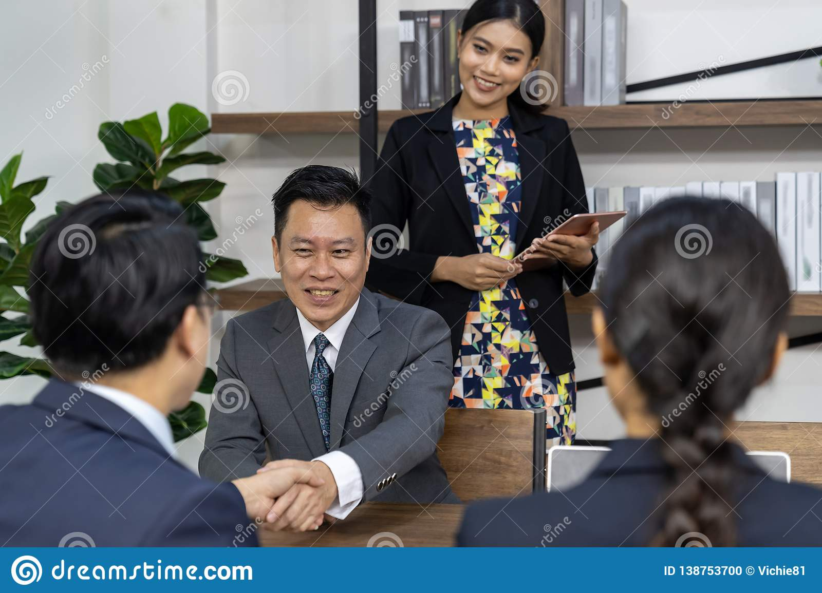 Business deal in a cafe