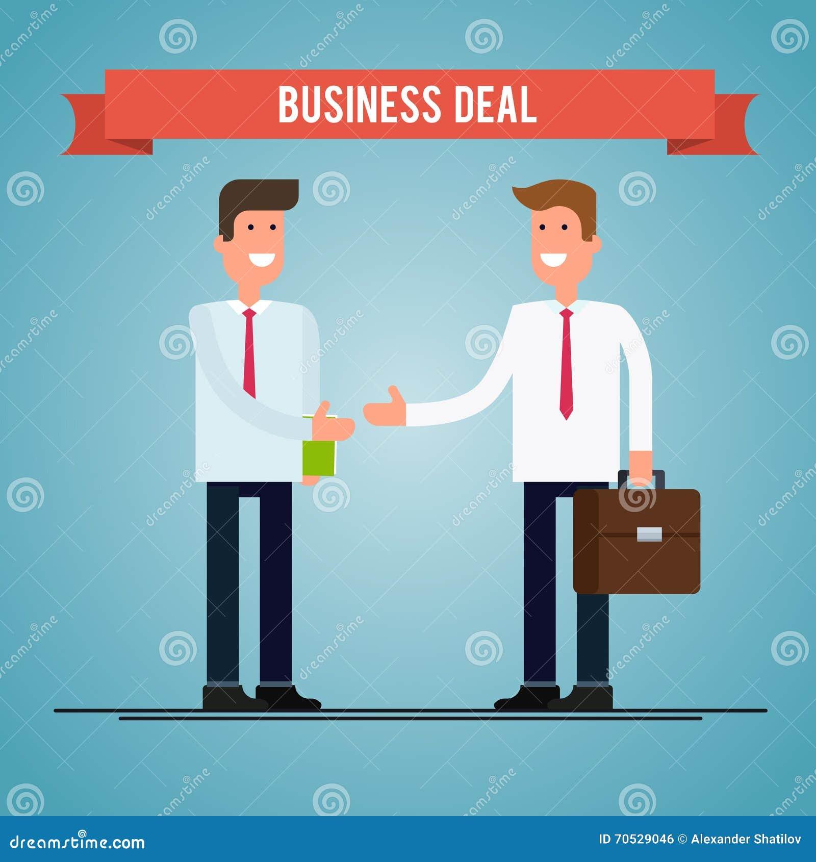 Business Deal People Shaking Hands Vector Flat Illustration Stock Handshake Teamwork