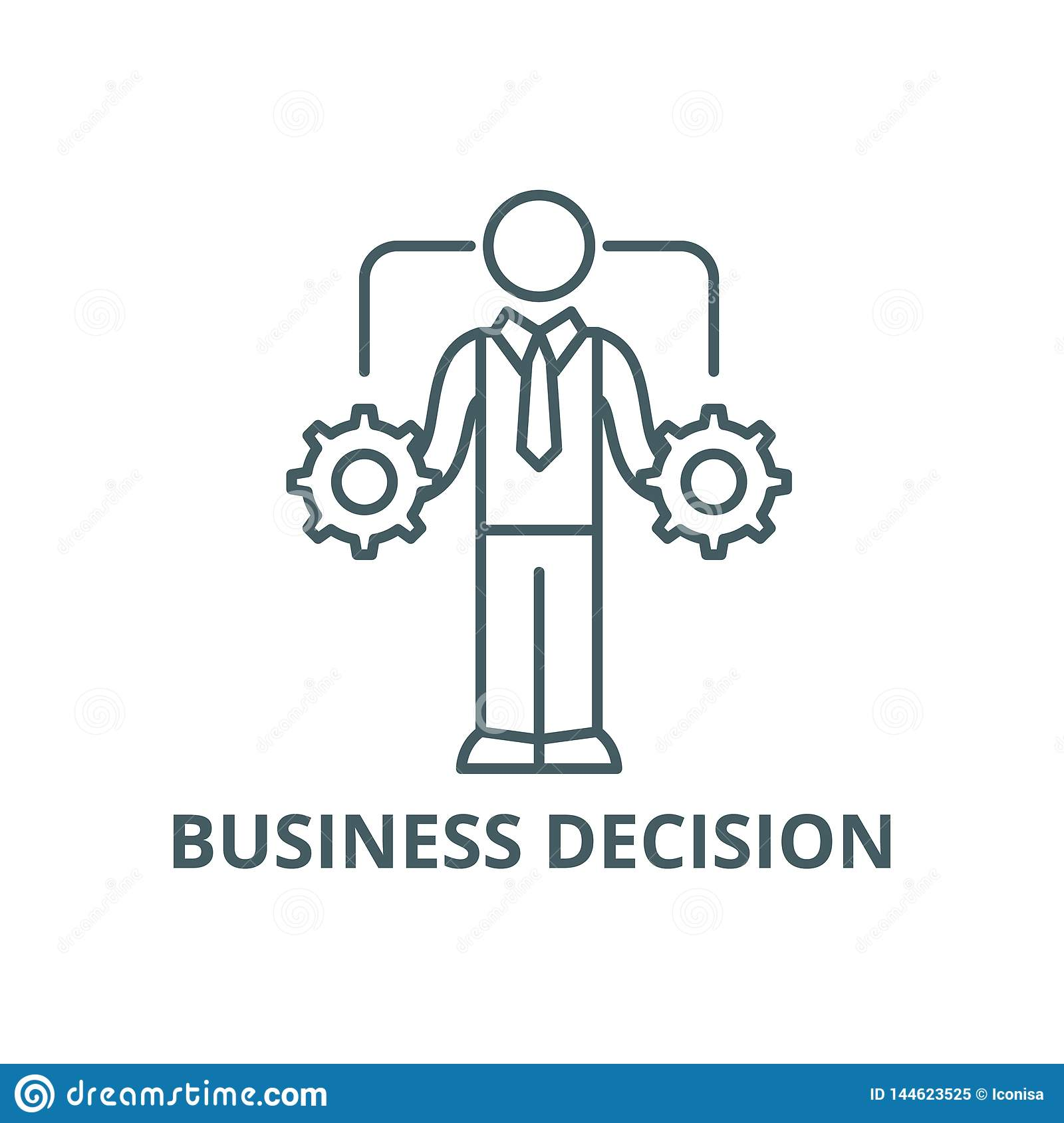 Business decision making line icon, vector. Business decision making outline sign, concept symbol, flat illustration