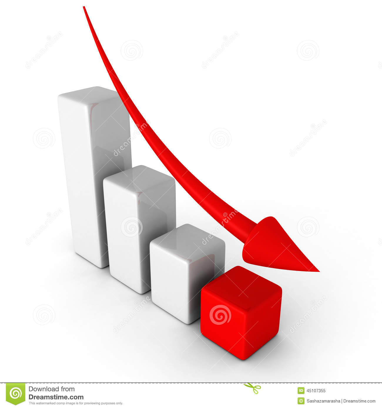 Business Decline Chart Graph With Falling Arrow Stock Photo - Image ...
